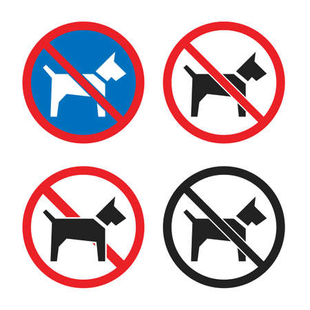 No dogs icon set, dog restriction sign