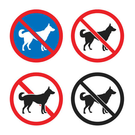 no dogs allowed sign set, dog restriction icon