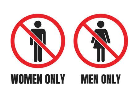 no men or no women signs, men only and women only warning labels Ilustração