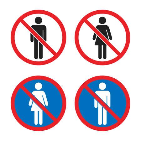 no men and no women signs, no entry icons Ilustração