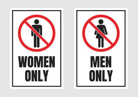 men only and women only signs, no men and no women label Ilustração