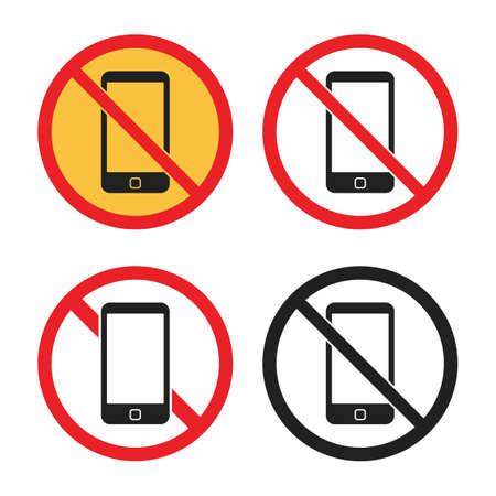 no smartphone sign set, no phone icons