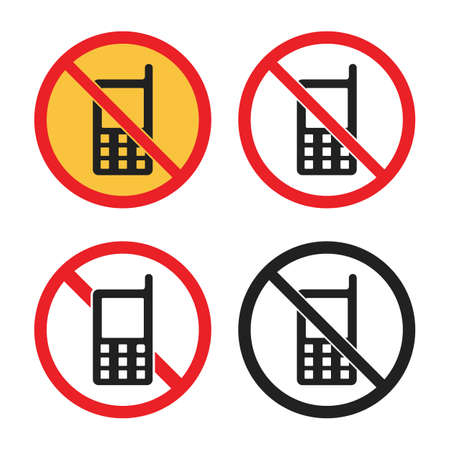 no phone sign, no cell phone icon set Çizim