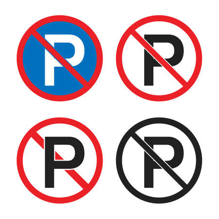 No parking road sign, parking is prohibited icons