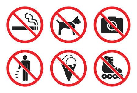 prohibition sign set at the entrance to the store, not allowed icons - no dog, icecream, photo, smoke, skates, litter Ilustração