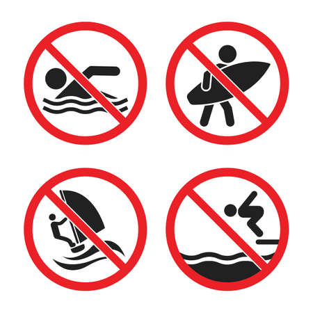 no swimming and no surfing sign set, no swimming allowed warning icons Ilustração Vetorial