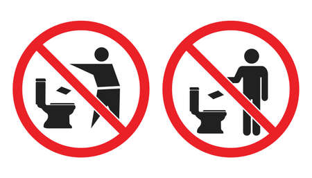 No littering in toilet icons, please do not throw paper towels in the toilet signs