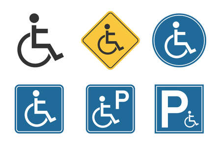 handicap icons set, wheelchair and disability symbol, handicap parking traffic sign Çizim