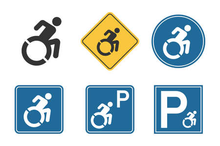parking for handicap disabled sign, wheelchair and disability icon set Çizim