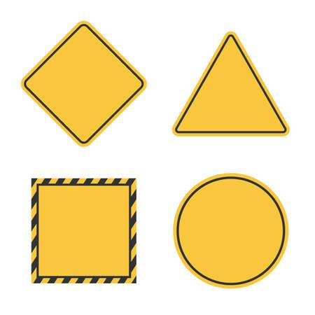 hazard blank sign set, empty yellow caution symbol Ilustração