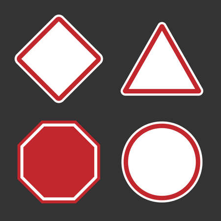 danger or roadsign blank signs, empty red caution sign set