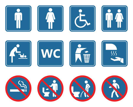 toilet icons set, restroom wc signs and prohibited symbols Ilustracja