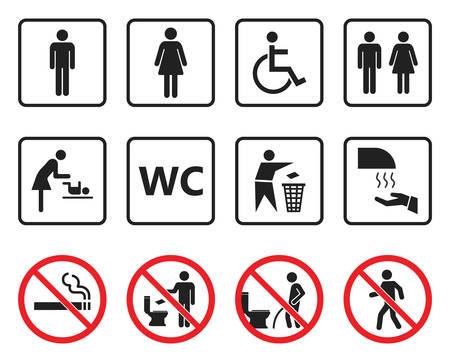 wc toilet sign set, restroom icons and prohibited symbols Vektorgrafik