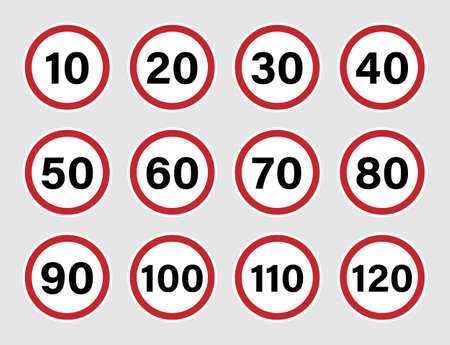 Speed limit road sign set with red border Illustration