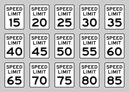 USA speed limit road sign set fro 15 to 85 mph Vetores