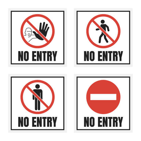 no entry label set, no access sign with man silhouette