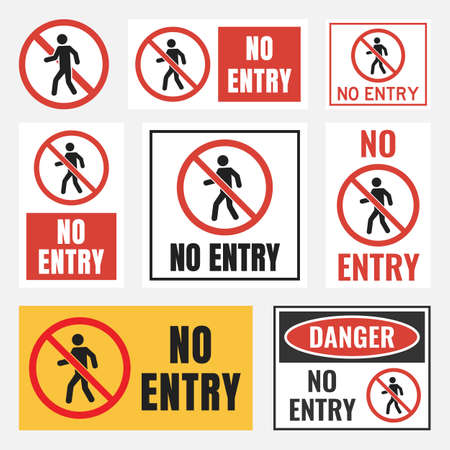 No entry sign set, no access label