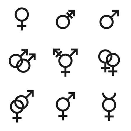 Gender identities icons set, sex relationship gender signs - male, female, hetero, transgender, lesbian, gay