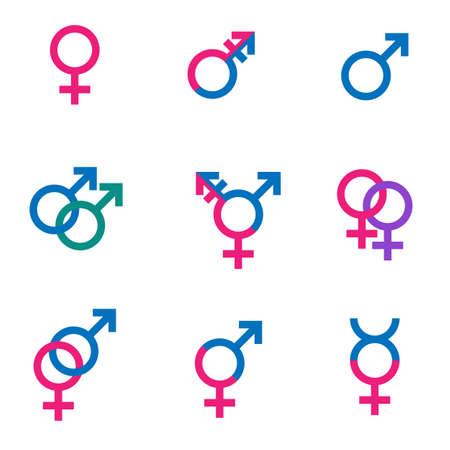 gender symbol set, sexual orientation icons - male, female, hetero, transgender, lesbian, gay, hermaphroditus 일러스트