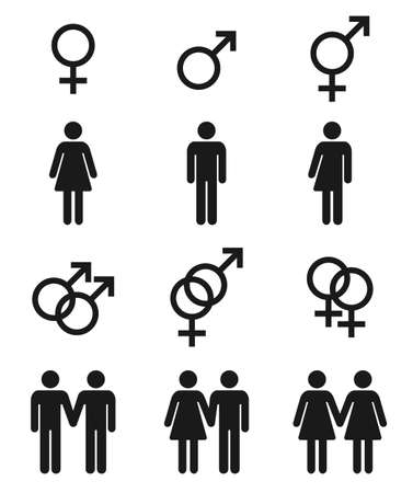 Set of gender symbols - male, female and transgender, sexual preference icons