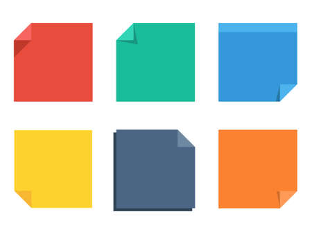 sticky note paper set, blank colorful flat stickers