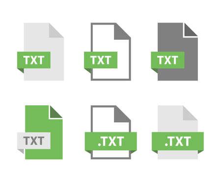 TXT files document icon set, TXT file format sign  イラスト・ベクター素材