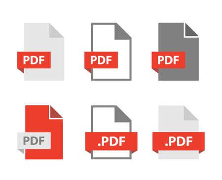PDF files document icon set, PDF file format sign
