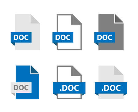 DOC files document icon set, DOC file format sign