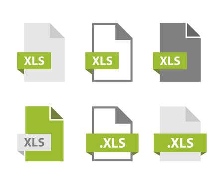 XLS files document icon set, XLS file format sign  イラスト・ベクター素材