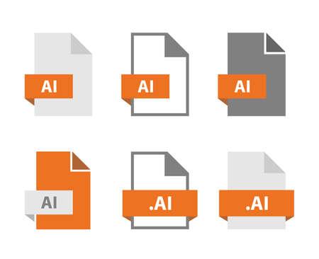 AI vector files document icon set, AI file format sign