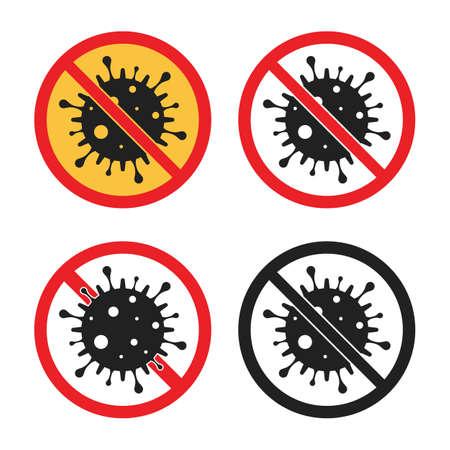no virus sign, stop coronavirus icon set  イラスト・ベクター素材