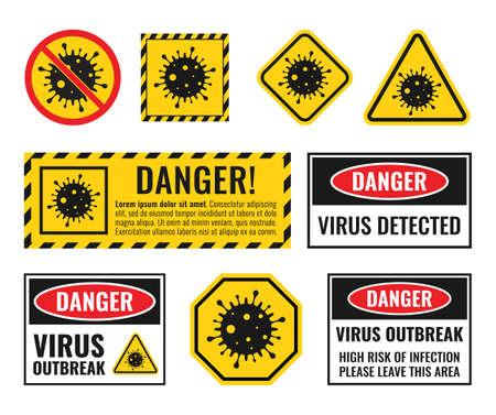 virus attention sign set, coronavirus icons, biohazard danger alert