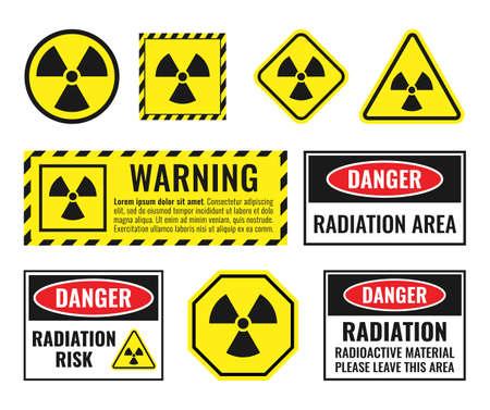 radiation icon set, radioactive hazard signs