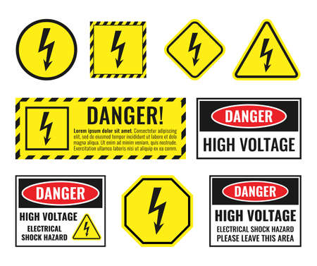 high voltage sign set, danger of electricity icons