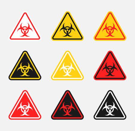 biohazard warning sign set, biological hazard danger icons