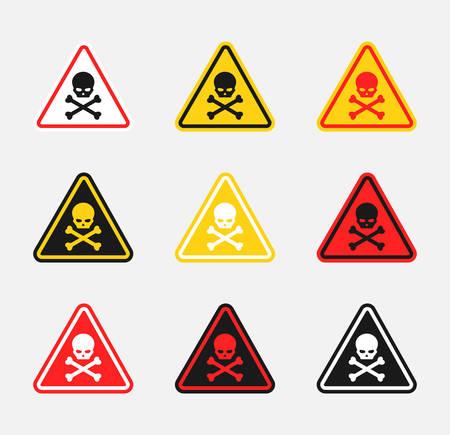 scull danger sign set, hazard warning icons