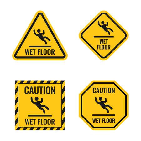 wet floor danger caution sign set, slippery floor warning notice