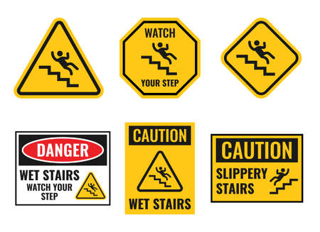 warning falling off the stairs sign set, slippery stairs caaution notice  イラスト・ベクター素材