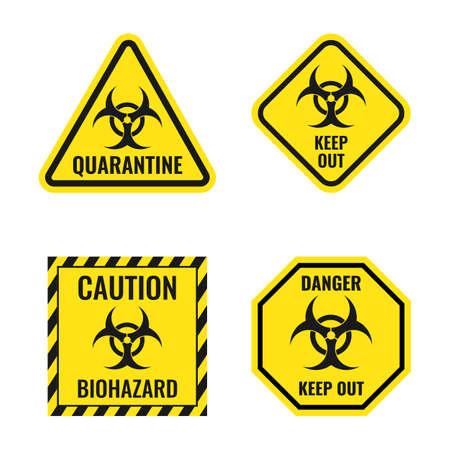biological hazard warning signs, biohazard danger icon set
