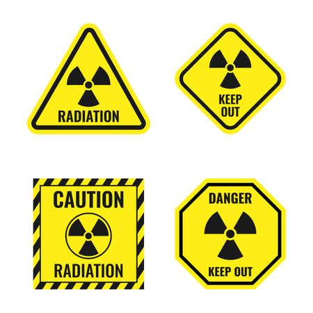 radiation risk icon set, radioactive hazard signs