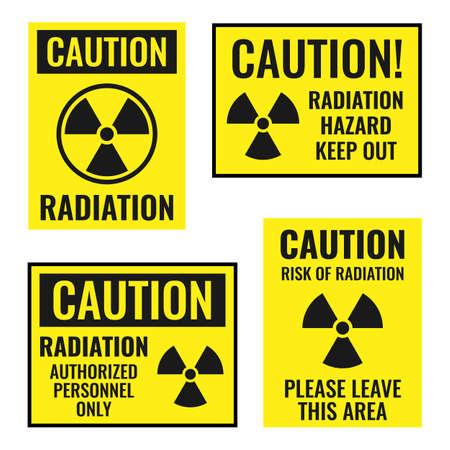 radiation danger sign set, radioactive hazard icons  イラスト・ベクター素材