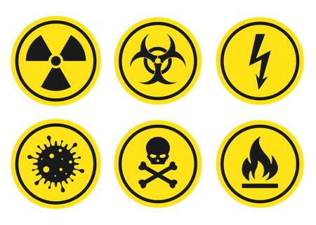 Warning signs set - danger, radiation, biohazard, death, voltage, flame, virus