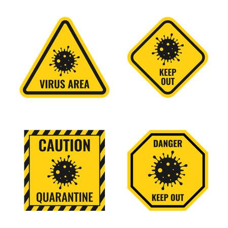 coronavirus icon set, virus danger sign, biohazard attention  イラスト・ベクター素材