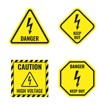 high voltage icons, danger of electricity sign set