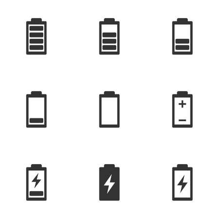 battery life icon set, battery charge indicator