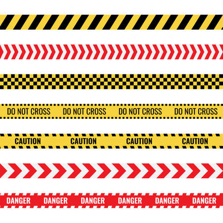 caution tape sign set, danger police lines, ribbons with warning text  イラスト・ベクター素材