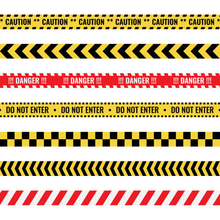warning tapes with text, seamless caution lines set  イラスト・ベクター素材
