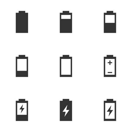battery charge level icons, battery life sign set  イラスト・ベクター素材