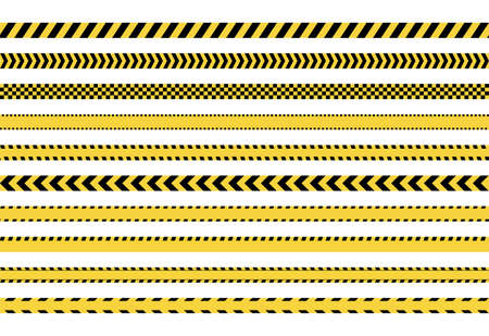 yellow caution tape sign set, danger police lines