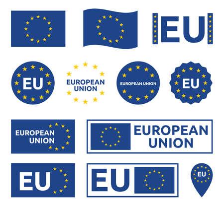 european union signs set, eu labels and badges